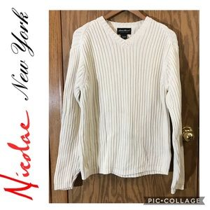 Eddie Bauer off white v neck cable knit sweater Lg